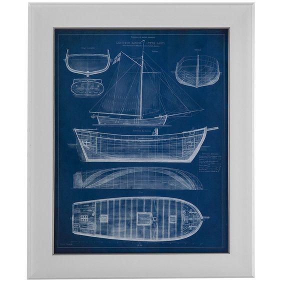 Bassett Mirror Pan Pacific Antique Ship Blueprint II Art