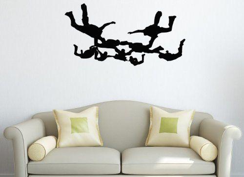 Wall Vinyl Decal Sticker Art Design Group of Parachutists on the Sky ...