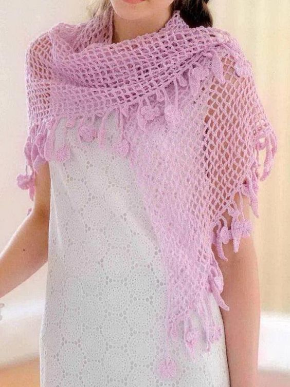 Stylish and Easy Crochet Lace Shawl for any simple dress ...