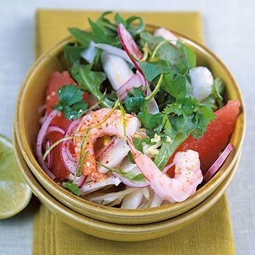 Rucola-Fenchel-Salat mit Garnelen