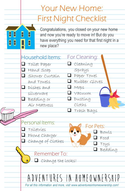 Adventures In Homeownership--first night in a new home checklist by  Elizabeth Gillette | House & Home | Pinterest | Apartments, House and Future