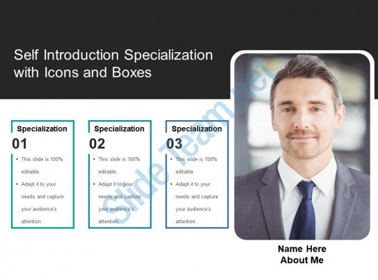 Self Introduction Specialization With Icons And Boxes Slide01