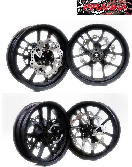 Piranha Aluminum 12 Blacksuper Moto Wheel Set Pit Bike Chassis