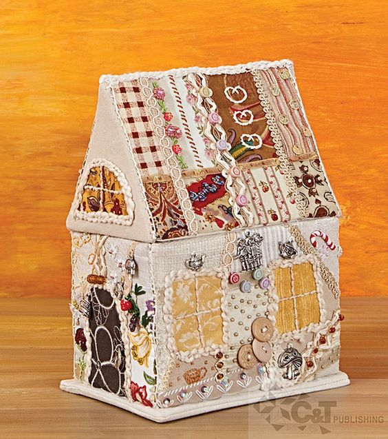 Crazy quilted house box.: