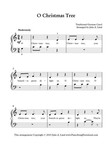 O Christmas Tree Easy Piano Arrangement For Beginning Piano