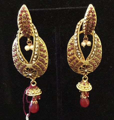 Indian Gold and Red Stone Bollywood Dangle Earrings