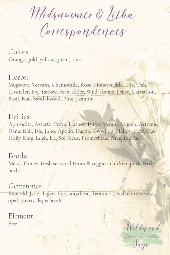 Correspondences for Midsummer / Summer Solstice / Litha