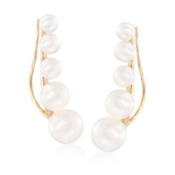 Ross-Simons - 3-6.5mm Cultured Pearl Ear Crawlers in 14kt Yellow Gold - #846101