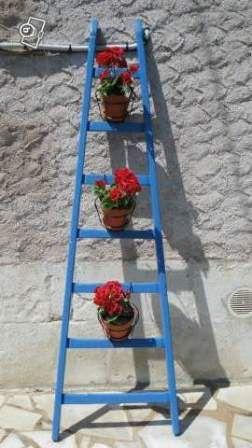 échelle pots de fleurs