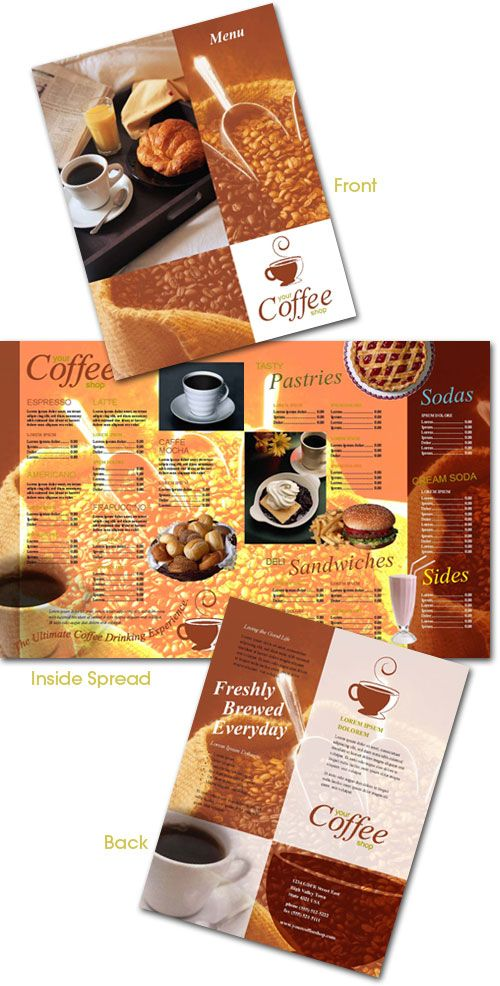 indesign template coffee menu. Black Bedroom Furniture Sets. Home Design Ideas