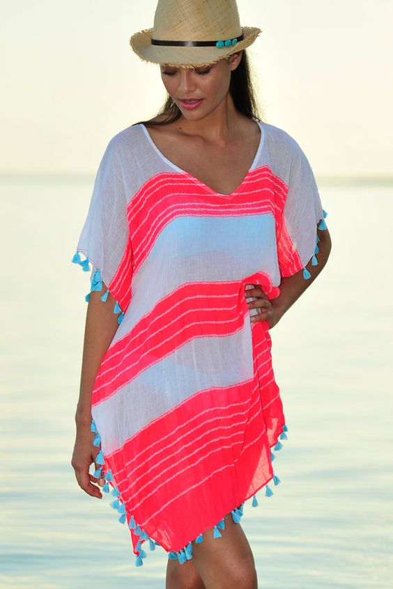 White and Red Mini Kaftan