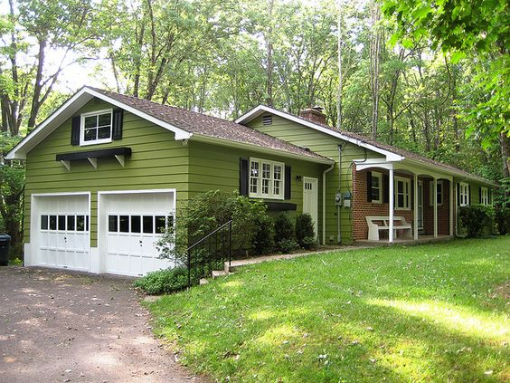 Nice Green Exterior Painted House With White Trim And