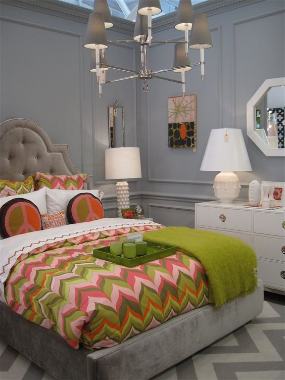 The peace sign pillows can go, but I love the colors and the chevron print of this room.: