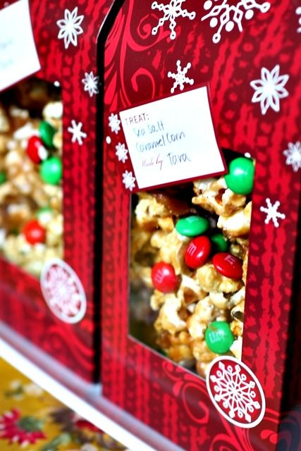 Cute Gift...mix Caramel Corn, M, toss with a bit of sea salt. Scoop into a cute package, stack in a basket by the door for visitors and guests to take home from a holiday party!
