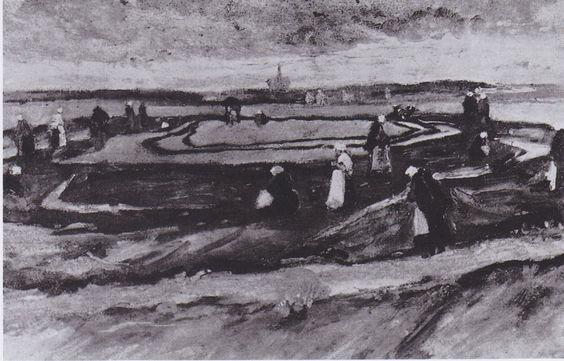 Van Gogh - Landschaft mit Netzflickerinnen, 1882