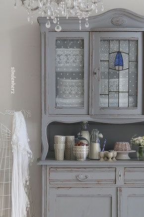 k chenbuffet in grau shabby chic chalk painting it all pinterest shabby chic shabby und. Black Bedroom Furniture Sets. Home Design Ideas