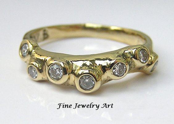 Handmade 750 18k Gold 4 mm Wave 7 Diamond Ring by FineJewelryArt, $1450.00