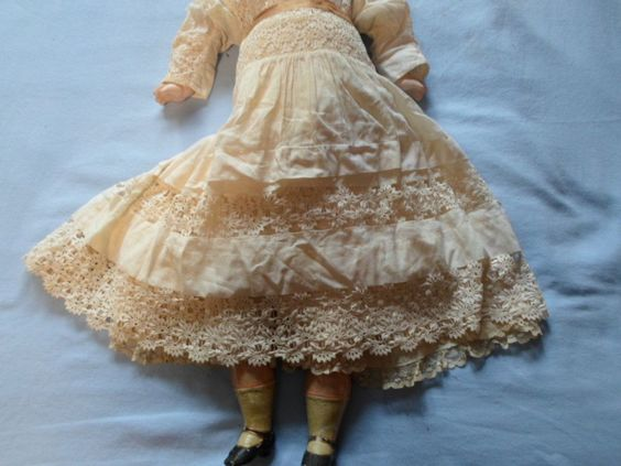 "Antique 29"" Wax Head Doll RARE Cloth Body Original 