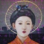 "Tobias Keene :: Geisha Girl #4  Oil and mixed media on canvas, 78 x 102"""