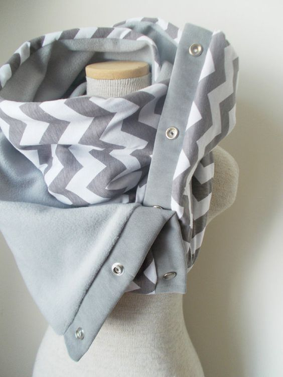 Grey and White Chevron Snap Scarf by MegansMenagerie on Etsy