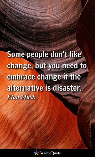 Some people don't like change, but you need to embrace change if the alternative is disaster. - Elon Musk
