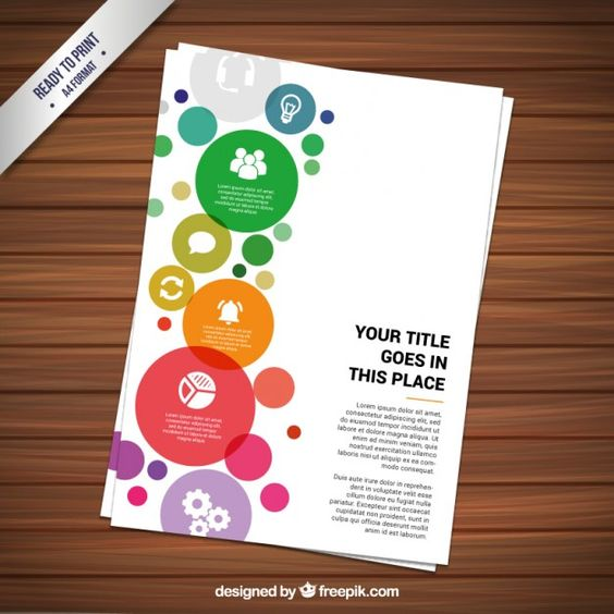 Colorful circles brochure Free Vector