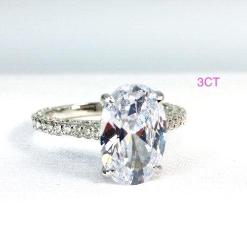 Alexandra 5ct Oval Petite French Pave Crown Iobi Cultured Diamond Ring 6 5 3ct Simulated Diamond Rings Engagement Simulated Diamond Rings Cultured Diamonds