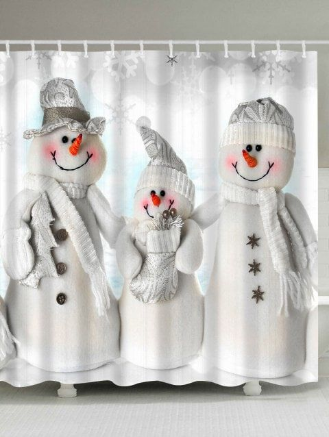 Waterproof Polyester Snowman Christmas Shower Curtain Grey White
