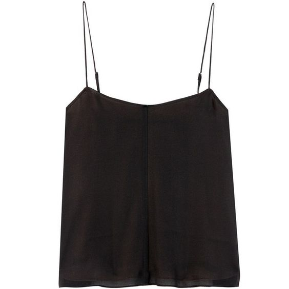 T by Alexander Wang Silk Camisole ($355) ❤ liked on Polyvore featuring intimates, camis, tops, black, silk cami, t by alexander wang and silk camisole