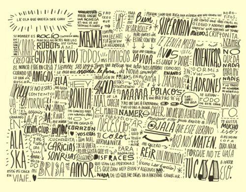 Experimentos tipográficos basados en letras de canciones de Antolín.: