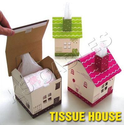 Details about Cute Cardboard House-Design Paper Tissue Box ...