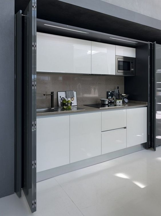 Kitchen workstation that disappears into the wall when not needed!