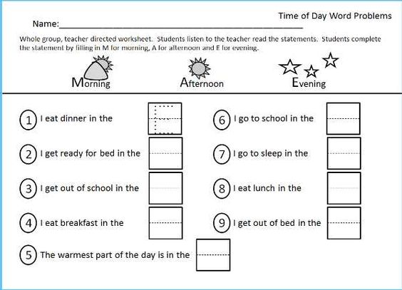Worksheet for Morning Afternoon Evening Part of the Time packet – Morning Worksheets for Kindergarten