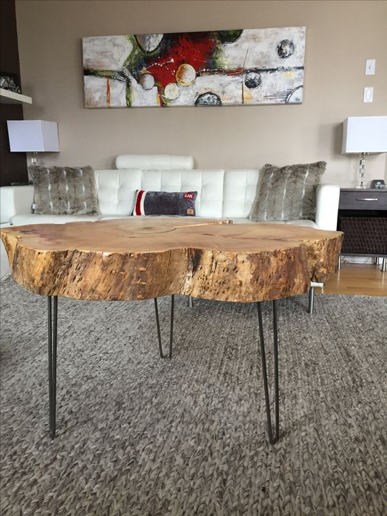 Stump coffee table with hairpin legs