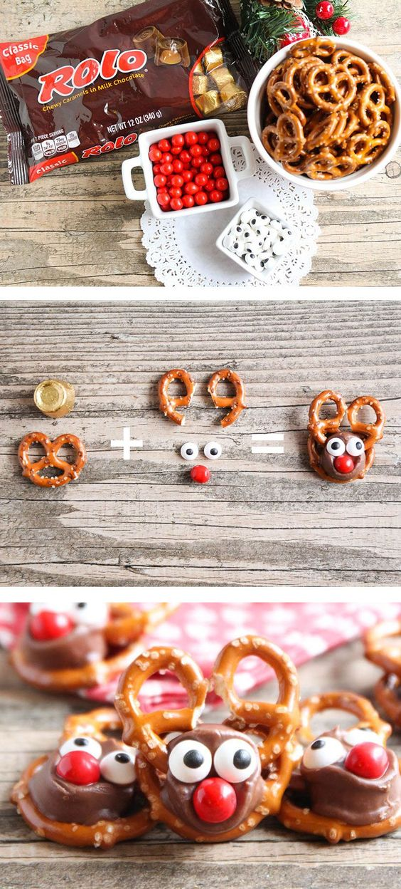 Rolo Pretzel Reindeer - these tasty treats are perfect for the holiday season…