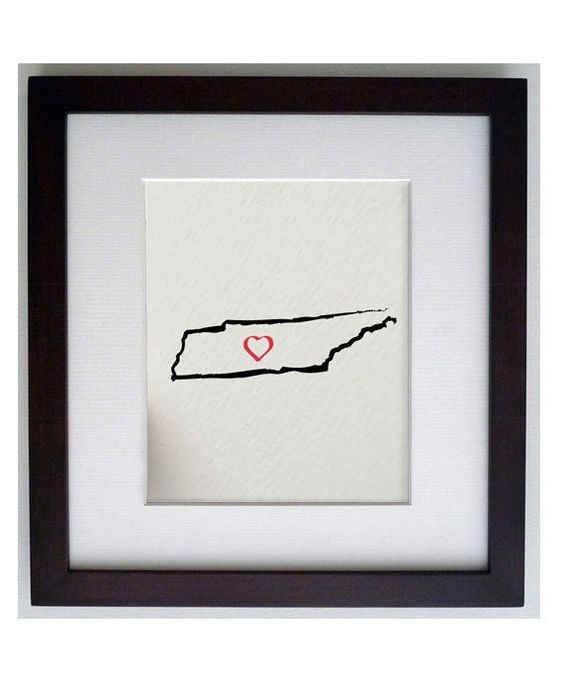 the state of TENNESSEE, Nashville USA 8 x 10 digital print design - painted brush strokes. $17.50, via Etsy.