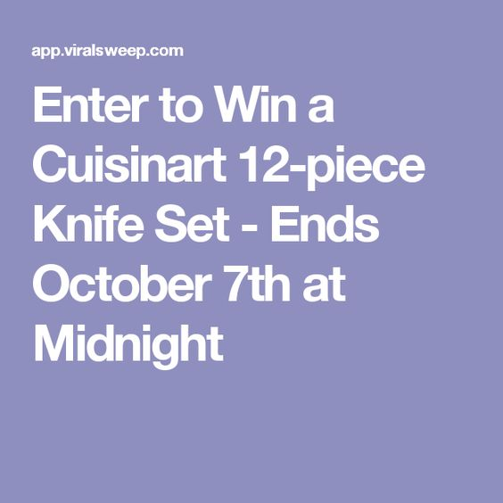 Enter to Win a Cuisinart 12-piece Knife Set - Ends October 7th at Midnight