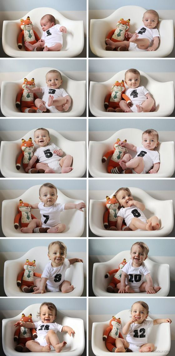 Daily Mom » Baby's 1st Year: Creative Monthly Baby Photo Ideas: With a Special Toy - Grab baby's first teddy bear or another cute toy of sentimental value and snap a photo of your baby with it each month. This is a great way to look back and really see how much your baby grew during that crazy first year.