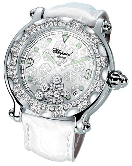 Chopard Happy Sport Diamond Snowflake 18kt White Gold Steel White Ladies Watch 288946