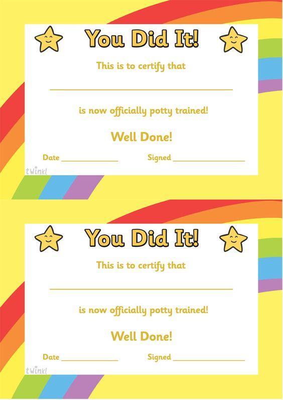 Twinkl Resources u003eu003e Potty Training Certificate u003eu003e Thousands of - training certificate
