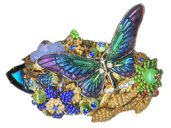 Image Copyright RC Larner ~ Giant Vintage Stanley Hagler Brooch with Enameled Butterfly ~ R C Larner Buttons at eBay & Etsy        http://stores.ebay.com/RC-LARNER-BUTTONS and https://www.etsy.com/shop/rclarner