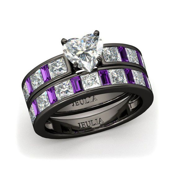 Heart Cut Black Engagement Ring / Wedding Ring Set for Women