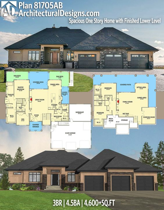 Architectural Designs House Plan 81705AB. 3BR | 4.5BA | 4,600+SQ.FT. Ready when you are. Where do YOU want to build? #81705ab #adhouseplans #architecturaldesigns #houseplan #architecture #newhome #newconstruction #newhouse #homedesign #dreamhome #dreamhouse #homeplan #architecture #architect