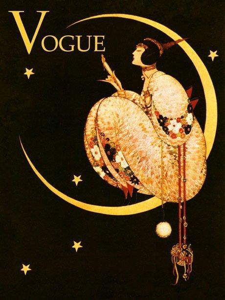 VOGUE Lady Girl Moon Fashion Vintage Poster Advertisement Reproduction FREE S/H #Vintage