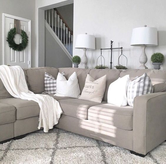 Modern Family Pillows On Couch : Farmhouse living room from @juliecwarnock; modern farmhouse, farmhouse style, promote Julie ...