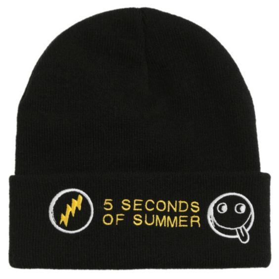 5 Seconds Of Summer Watchman Beanie | Hot Topic (€15) ❤ liked on Polyvore featuring accessories, hats, beanies, 5sos, band merch, embroidered beanie hats, summer beanie hats, black summer hat, summer hats en beanie hats