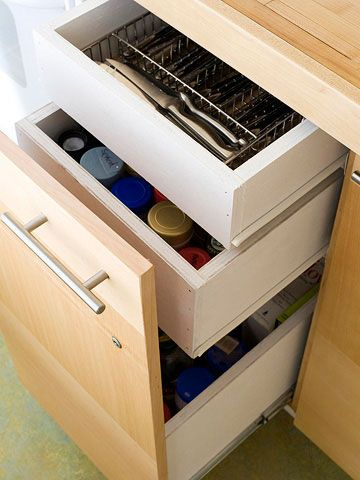 instead of one large cabinets, it is not 3 drawers instead! i want these for all my baking supplies.  only i want them to look like a cabinet with a handle instead of a drawer.