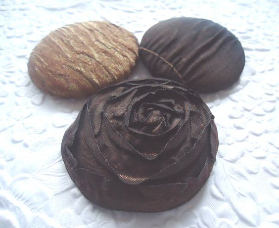 3 fabric covered buttons - 1 7/8 inches - brown  mix - only one set available