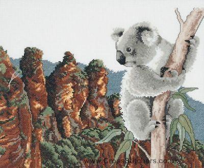 Koala At The Three Sisters - Australiana Counted Cross Stitch Kit