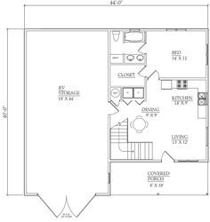 Rv garage garage and small apartments on pinterest for Rv garage with loft